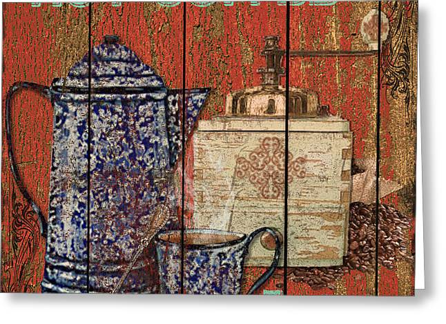 Rural Mixed Media Greeting Cards - Hot Coffee Greeting Card by Jean PLout