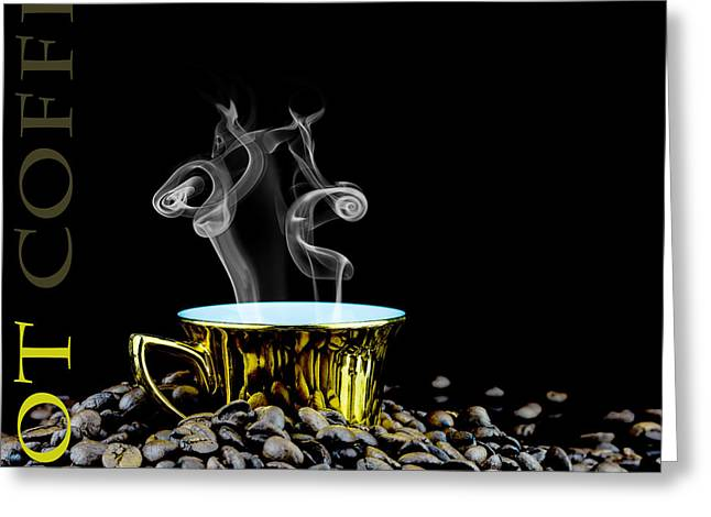 Cropped Mixed Media Greeting Cards - Hot coffee  Greeting Card by Toppart Sweden