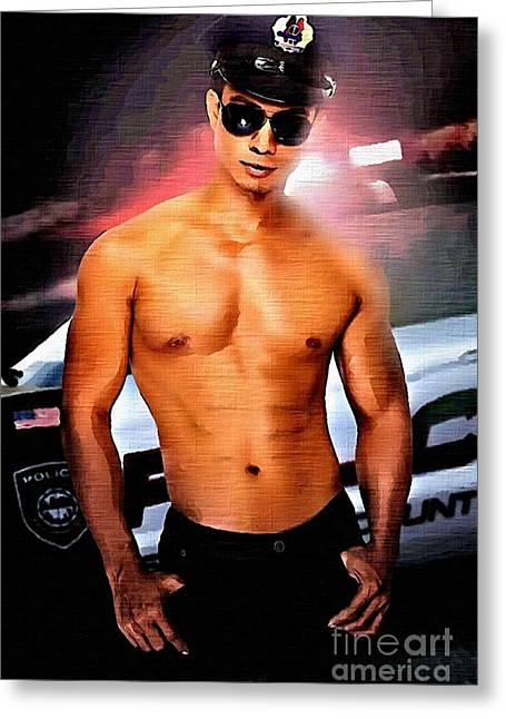 Police Cruiser Paintings Greeting Cards - Hot Cop Greeting Card by Brian Joseph E