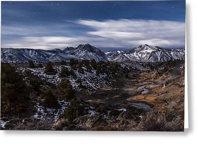 Eastern Sierra Greeting Cards - Hot Creek at Night Greeting Card by Cat Connor