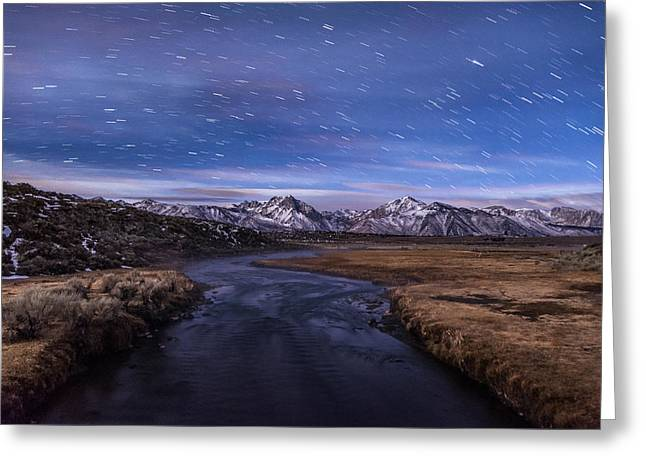 Winter Night Greeting Cards - Hot Creek Star Trails Greeting Card by Cat Connor
