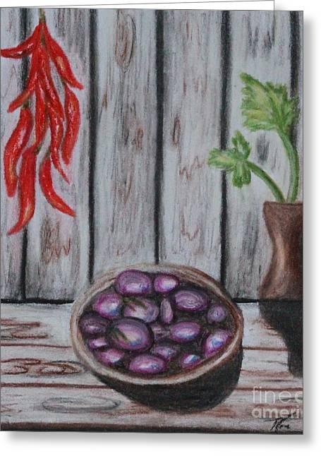 Wooden Bowls Paintings Greeting Cards - Hot Damn Greeting Card by Angela Pari  Dominic Chumroo