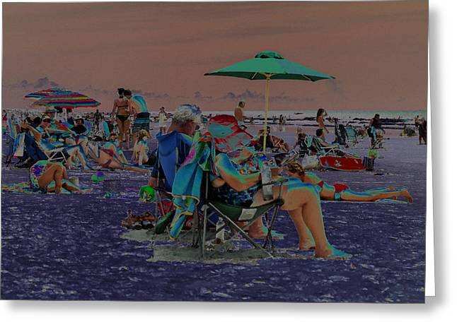 Green Abstract Jewelry Greeting Cards - Hot Day at the Beach - Solarized Greeting Card by Suzanne Gaff