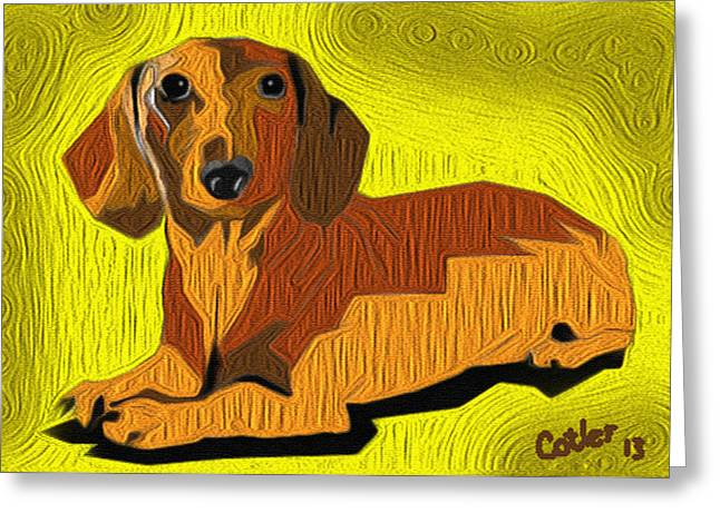 Dachshund Digital Greeting Cards - Hot Dog Greeting Card by GR Cotler