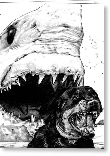 White Shark Drawings Greeting Cards - Hot Dog Greeting Card by MH Heintz