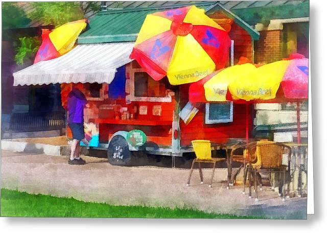 Hot Dog Stand In Mall Greeting Card by Susan Savad