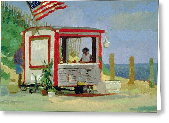 Hot Dog Greeting Cards - Hot Dog Stand Oil On Canvas Greeting Card by Sarah Butterfield
