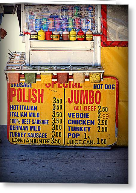 Hot Dog Stand Greeting Cards - Hot Dog Stand Greeting Card by Valentino Visentini