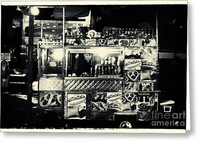 Filmnoir Greeting Cards - Hot Dogs at Times Square New York City Greeting Card by Sabine Jacobs