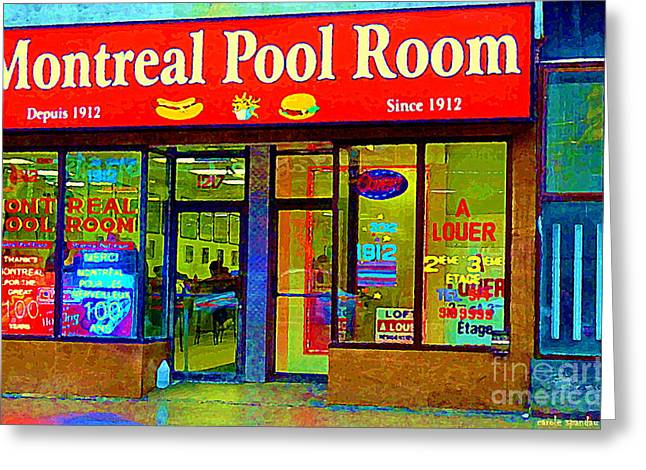 Montreal Diners Greeting Cards - Hot Dogs Et Frites Montreal Pool Room Famous Hot Dog Shrine Urban Eateries Fast Food Scenes Cspandau Greeting Card by Carole Spandau