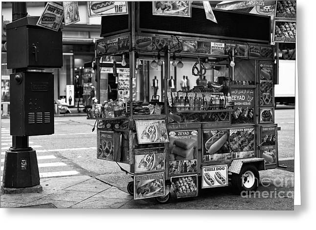 Hot Dog Stand Greeting Cards - Hot Dogs on 34th Street mono Greeting Card by John Rizzuto