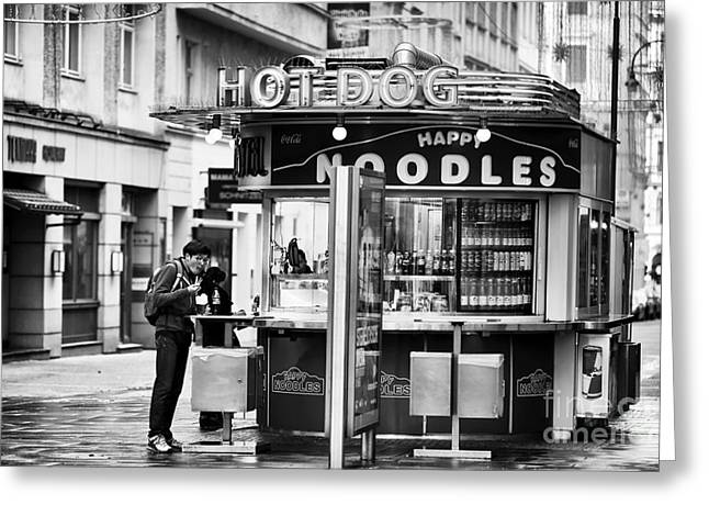 Hot Dog Stand Greeting Cards - Hot Dogs or Noodles Greeting Card by John Rizzuto