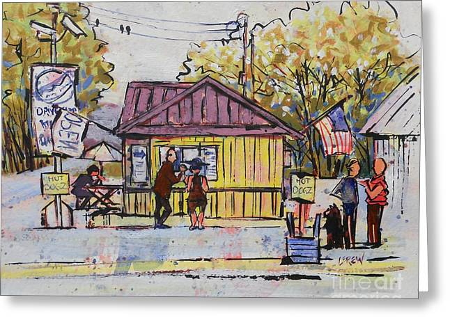Fast Food Drawings Greeting Cards - Hot Dogz Greeting Card by Larry Lerew