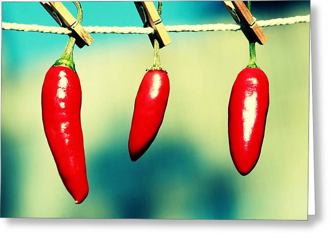 Hot Peppers Greeting Cards - Hot family Greeting Card by Beata  Czyzowska Young