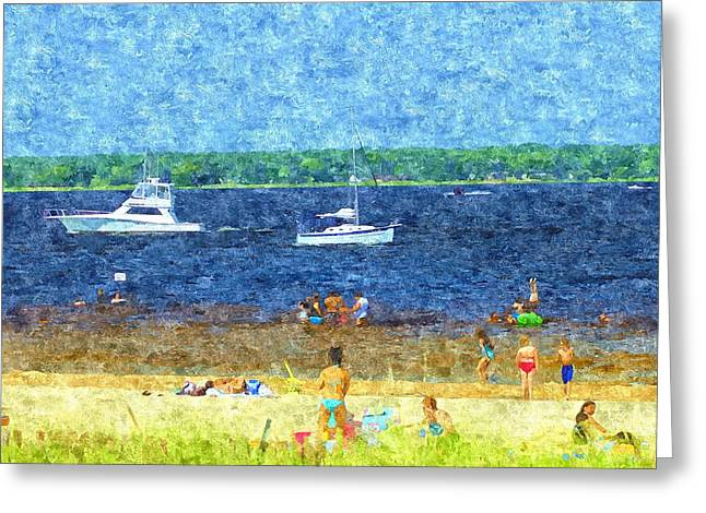 Sand Fences Paintings Greeting Cards - Hot Fun In The Summer Sun Greeting Card by Rosemarie E Seppala