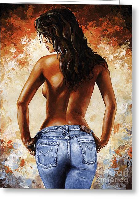 Posed Greeting Cards - Hot Jeans 02 blue Greeting Card by Emerico Imre Toth