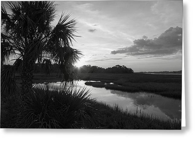 Best Sellers -  - Cedar Key Greeting Cards - Hot June Sunrise I        BW Greeting Card by Sheri McLeroy