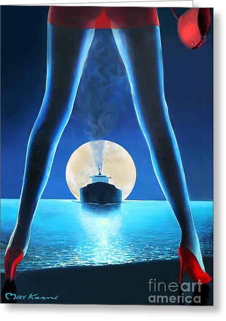 Beach At Night Greeting Cards - Hot Night Greeting Card by Miki Karni