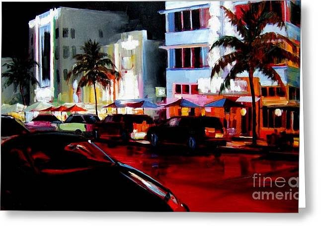 Lanscape Paintings Greeting Cards - Hot Nights in South Beach - Oil Greeting Card by Michael Swanson