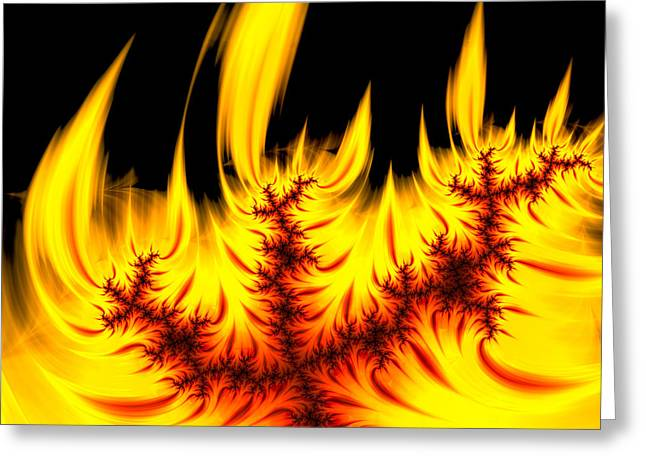 Hot Orange And Yellow Fractal Fire Greeting Card by Matthias Hauser