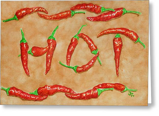 Fresh Food Drawings Greeting Cards - Hot Peppers Greeting Card by Gerald Tierney