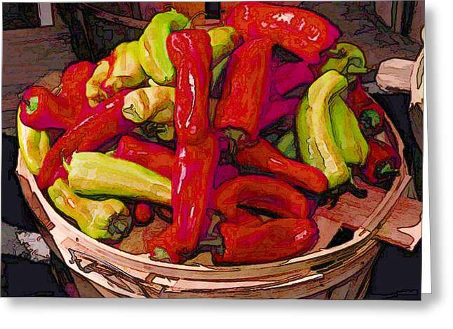 Hot Peppers In A Basket Greeting Card by Elaine Plesser
