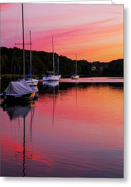 New England Coast Line Greeting Cards - Hot Pink Canal Greeting Card by Karol  Livote