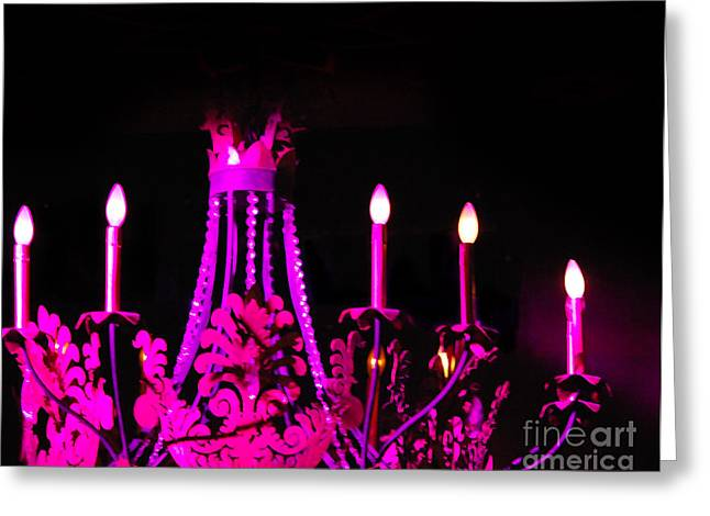 Interior Still Life Digital Greeting Cards - Hot Pink Chandelier Greeting Card by Sonja Quintero