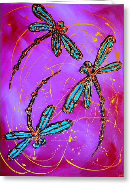 Lyndsey Hatchwell Greeting Cards - Hot Pink Dragonfly Flit Greeting Card by Lyndsey Hatchwell