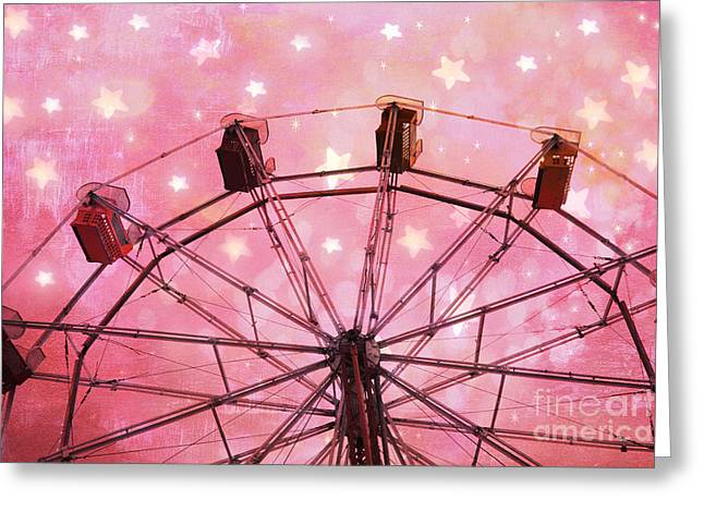 Festivals Fairs Carnival Photos Greeting Cards - Hot Pink Ferris Wheel With Stars -  Fantasy Carnival Ride - Pink Ferris Wheel With White Stars  Greeting Card by Kathy Fornal