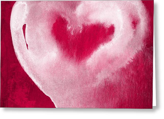 Babies Mixed Media Greeting Cards - Hot Pink Heart Greeting Card by Linda Woods