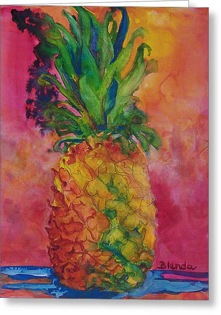 Holiday Art Greeting Cards - Hot Pink Pineapple Greeting Card by Blenda Studio