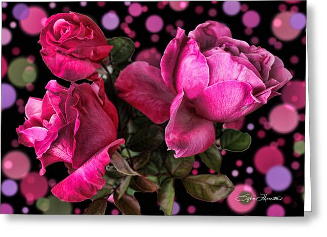 Hot Pink Trio Greeting Card by Sylvia Thornton