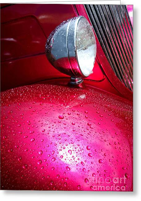 Headlight Greeting Cards - Hot Pink Wet Rod Greeting Card by Olivier Le Queinec