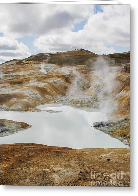 Boiling Greeting Cards - Hot pool in Krafla Iceland Greeting Card by Patricia Hofmeester