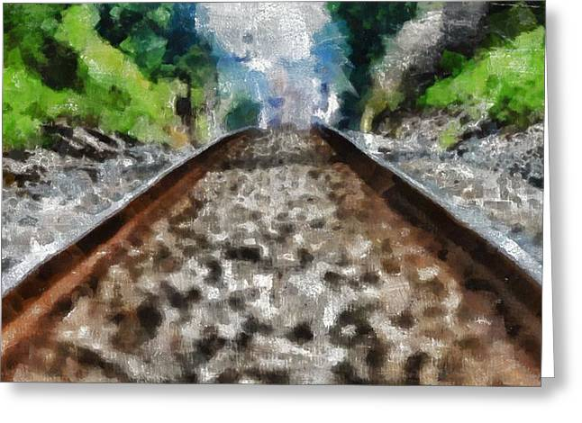 Great Mysteries Mixed Media Greeting Cards - Hot Railroad Tracks Summer Day Greeting Card by Dan Sproul