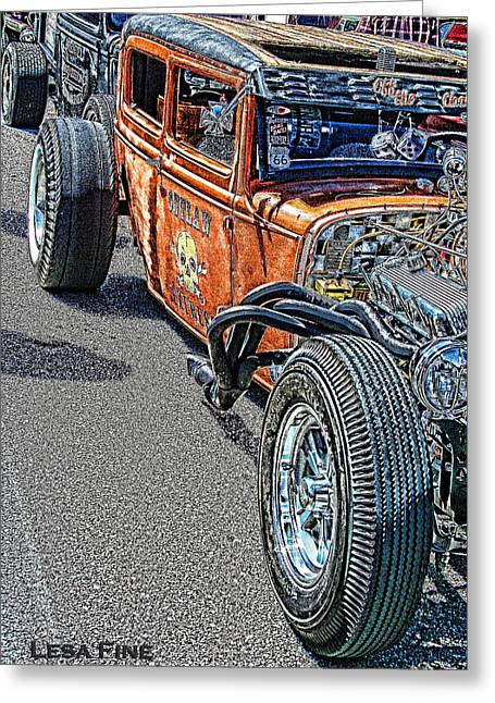 Auto Greeting Cards - Hot Rod Art Greeting Card by Lesa Fine