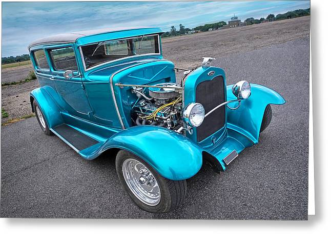 Classic Ford Roadster Greeting Cards - Hot Rod Blues - 1930 Ford Coupe Greeting Card by Gill Billington