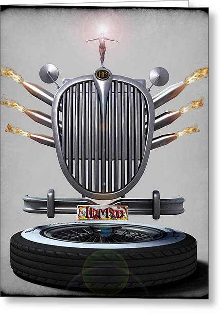 Hot Rod Crest Greeting Card by Frederico Borges