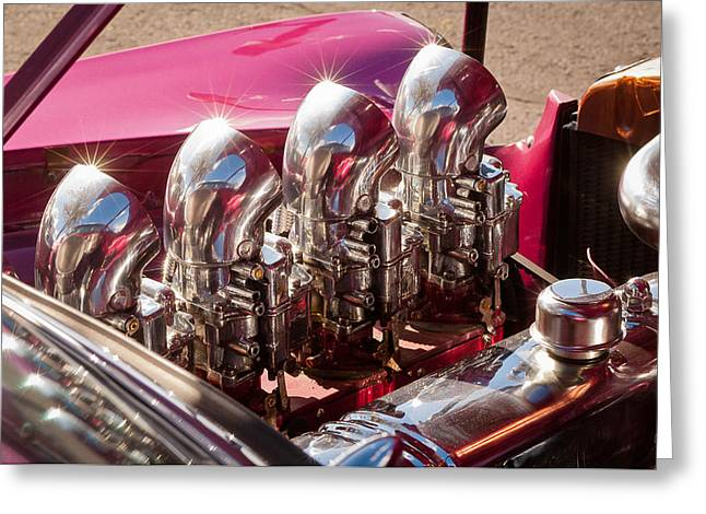 Chrome Greeting Cards - Hot Rod Engine Greeting Card by Jill Reger