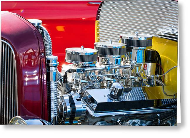 Hot Rod Photography Greeting Cards - Hot Rod Enginge Greeting Card by Jill Reger