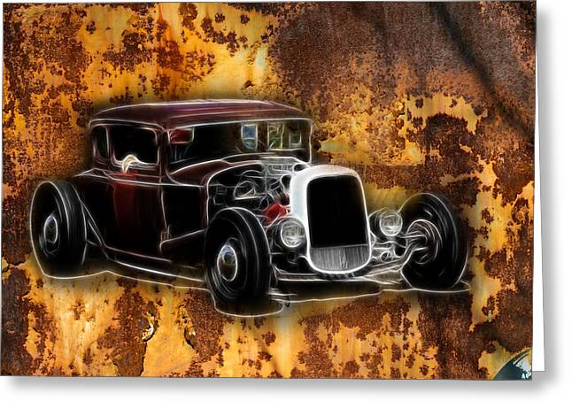 1950 Merc Greeting Cards - Hot Rod Rust Greeting Card by Steve McKinzie