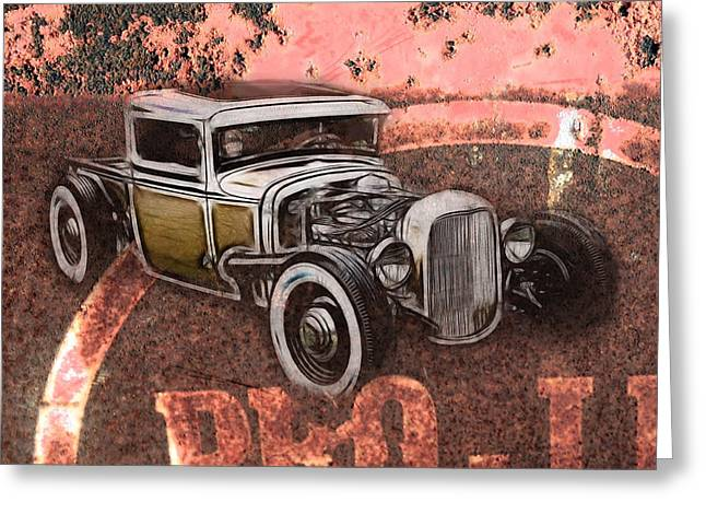 1950 Merc Greeting Cards - Hot Rod Sign Greeting Card by Steve McKinzie