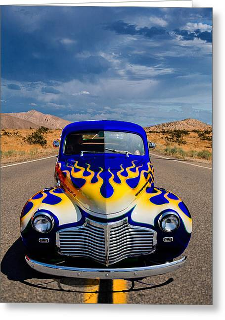 Custom Automobile Greeting Cards - Hot Rod to Hell Greeting Card by Peter Tellone