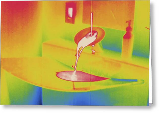 Hot Running Water, Thermogram Greeting Card by Science Stock Photography