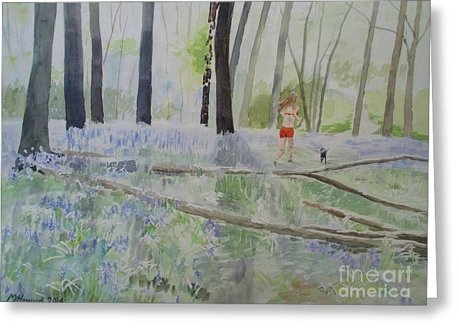 Jogging Greeting Cards - Hot Spring Bluebell Jogger Greeting Card by Martin Howard