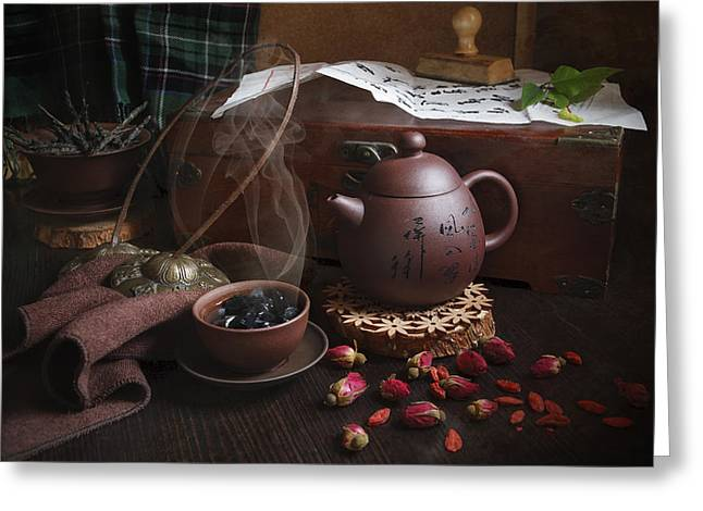 Tea For Two Greeting Cards - Hot Stone  Greeting Card by Aleksandrs  Junaevs
