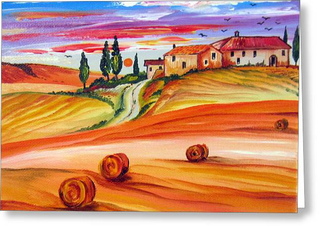 Tuscan Sunset Greeting Cards - Hot Summer Tuscany sunset Greeting Card by Roberto Gagliardi