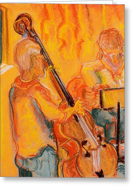 Stand Up Bass Greeting Cards - Hot Tunes Greeting Card by Tim  Swagerle