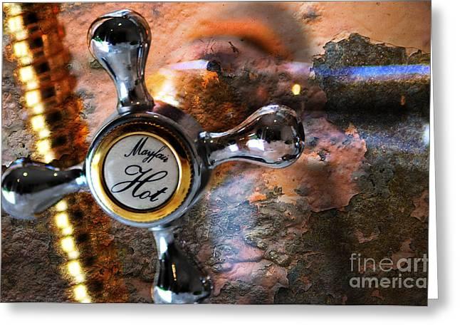 Stainless Steel Greeting Cards - Hot Water Greeting Card by Randi Grace Nilsberg